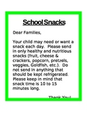 School Snack Letter to Parents