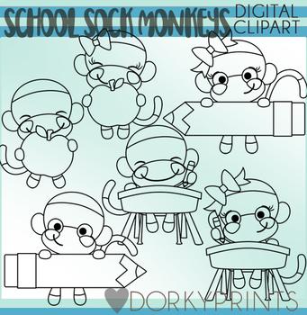 School Sock Monkeys Blackline Clipart