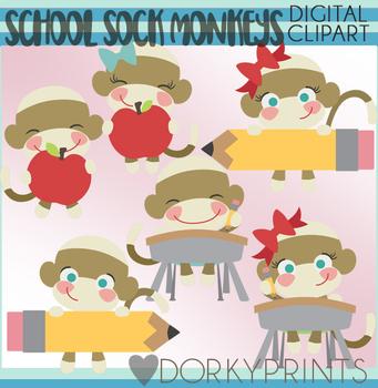 School Sock Monkeys Clipart