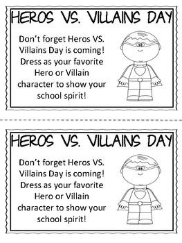 School Spirit Day/ School Spirit Week Printable Reminder Notes FREEBIE