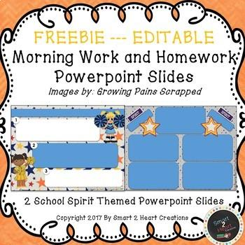 School Spirit EDITABLE Morning Work & Homework Powerpoint FREEBIE