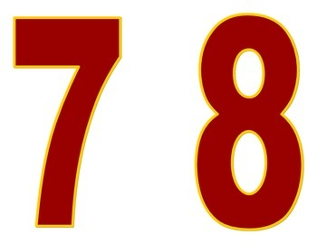 School Spirit Maroon and Gold Symbols and Numbers