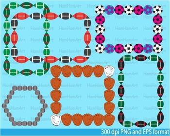 School Sports Borders Frames Clip Art football baseball soccer sport field -026-