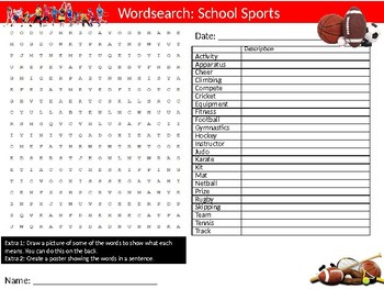 School Sports Day Puzzle Sheet Keywords Activity Physical Education
