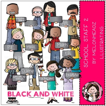 School Staff 2 by Melonheadz BLACK AND WHITE
