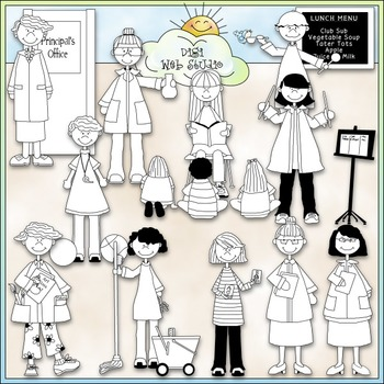 School Staff (Women) Clip Art - School Teachers Clip Art - CU Clip Art & B&W