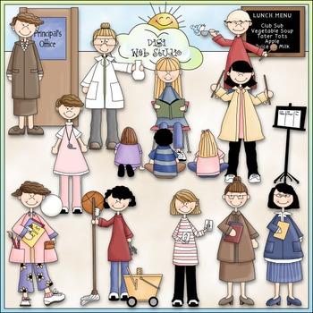 School Staff (Women) Clip Art - School Teachers Clip Art -