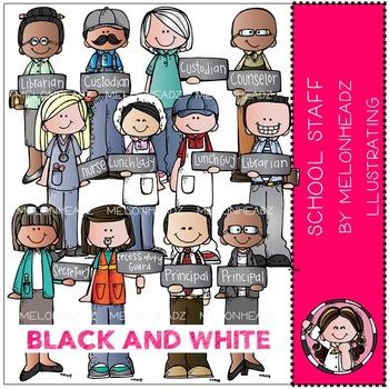School Staff by Melonheadz BLACK AND WHITE