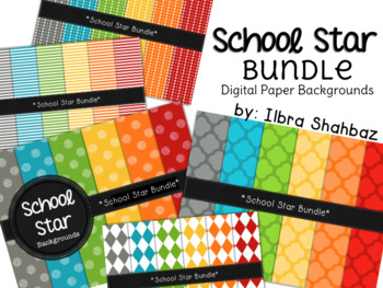 School Star Digital Paper Backgrounds {BUNDLE}