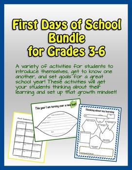 School Start: First Days of School Bundle, grades 3-6