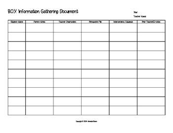 School Start - Student Information Document