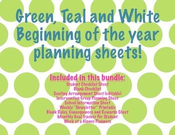 School Starter Kit Green Polka Dot Design