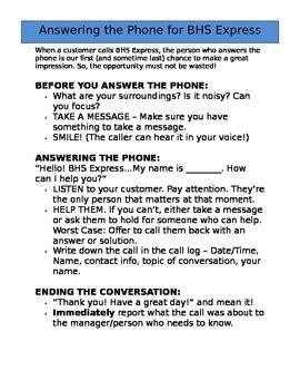 School Store Employee Training - Answering the Phone