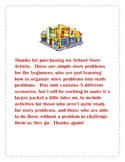 School Store Simple Story Problems