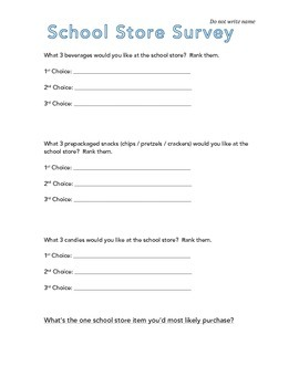 School Store Survey