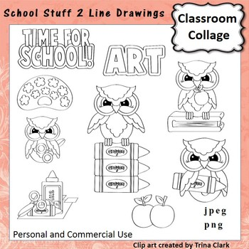School Stuff 2 Clip Art  B/W  Line Drawings  personal & commercial use
