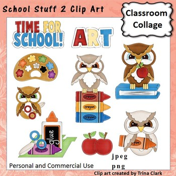 School Stuff 2 Clip Art  Color  personal & commercial use