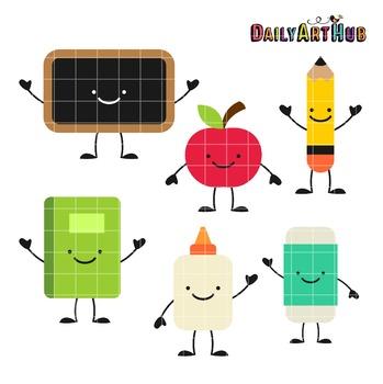 School Stuff Clip Art - Great for Art Class Projects!