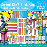 School Stuff Stick Kids - Clipart for Teaching