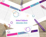 School Subject Activities Packet
