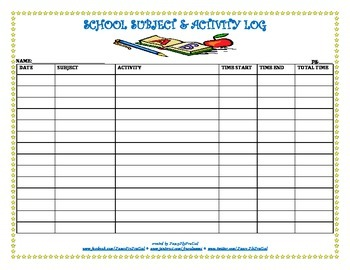 School Subject & Activity Log