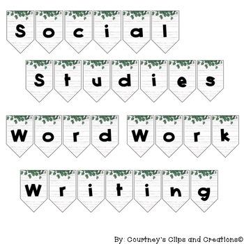School Subject - Banners - Greenery Wood Themed