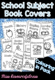 School Subject Book Cover Title Pages - Coloring in