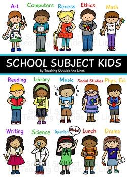 School Subject Kids Clip Art
