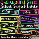 School Subject Labels: Chalkboard Brights