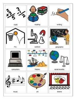 School Subject Picture Symbols