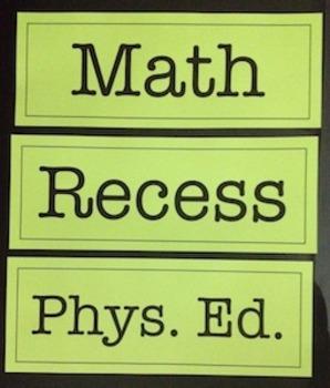 School Subject Schedule Cards