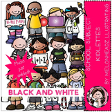 School Subject clip art - kidlettes - BLACK AND WHITE- by Melonheadz