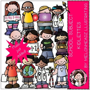 School Subject kidlettes clip art - COMBO PACK- by Melonheadz
