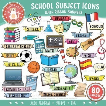 school subjects clip art icons by clever cat creations tpt