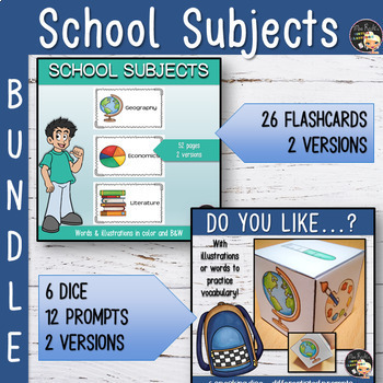 School Subjects Flashcards and Dice