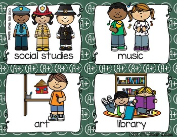 School Subjects Write the Room - 16 cards four versions, four recording sheets