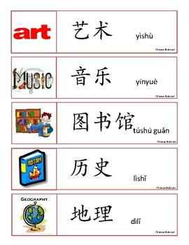 School Subjects in Chinese Word Wall Words