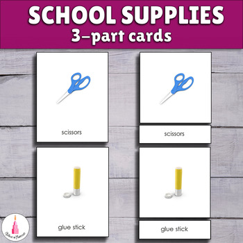 School Supplies 3-part cards