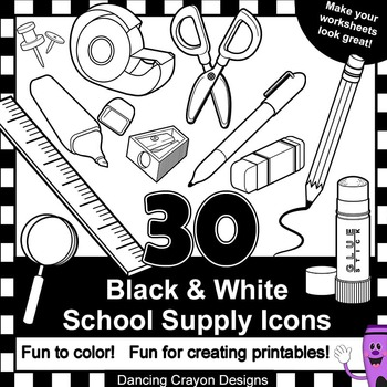 School Supplies Clip Art for Teachers - 30 Black and White School Supply Icons