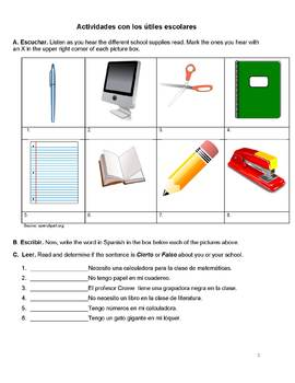 School Supplies Activity Packet