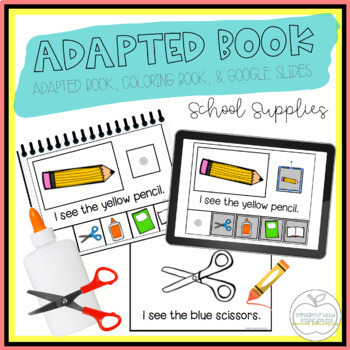 School Supplies Adapted Book & Student Book for Early Childhood Special Ed