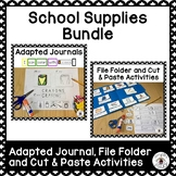 School Supplies Adapted Journals, File Folder and Cut & Paste Activities