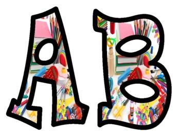 School Supplies Alphabet Bulletin Board Letters