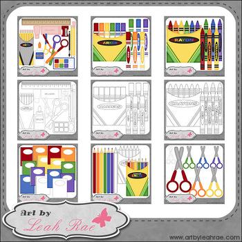 School Supplies - Art by Leah Rae Clip Art & B&W Bundle