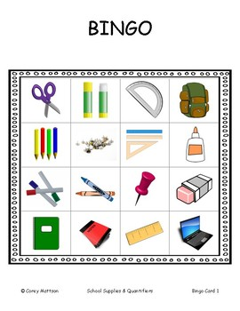 School Supplies BINGO     with quantifiers and numerals