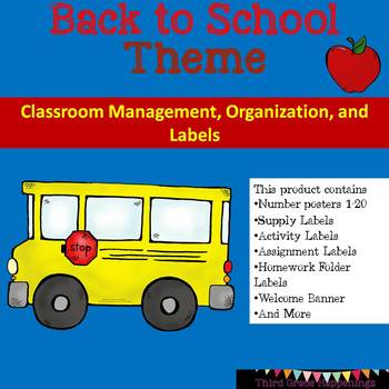 School Supplies Back to School Theme Classroom Labels