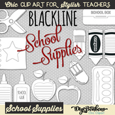 School Supplies Black and White Cute Clip Art