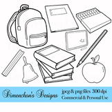 School Supplies Blackline Clipart