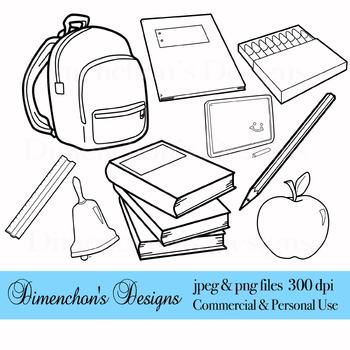 School Supplies Blackline Clipart
