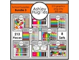 School Supplies Clipart Bundle 3 {A Hughes Design}